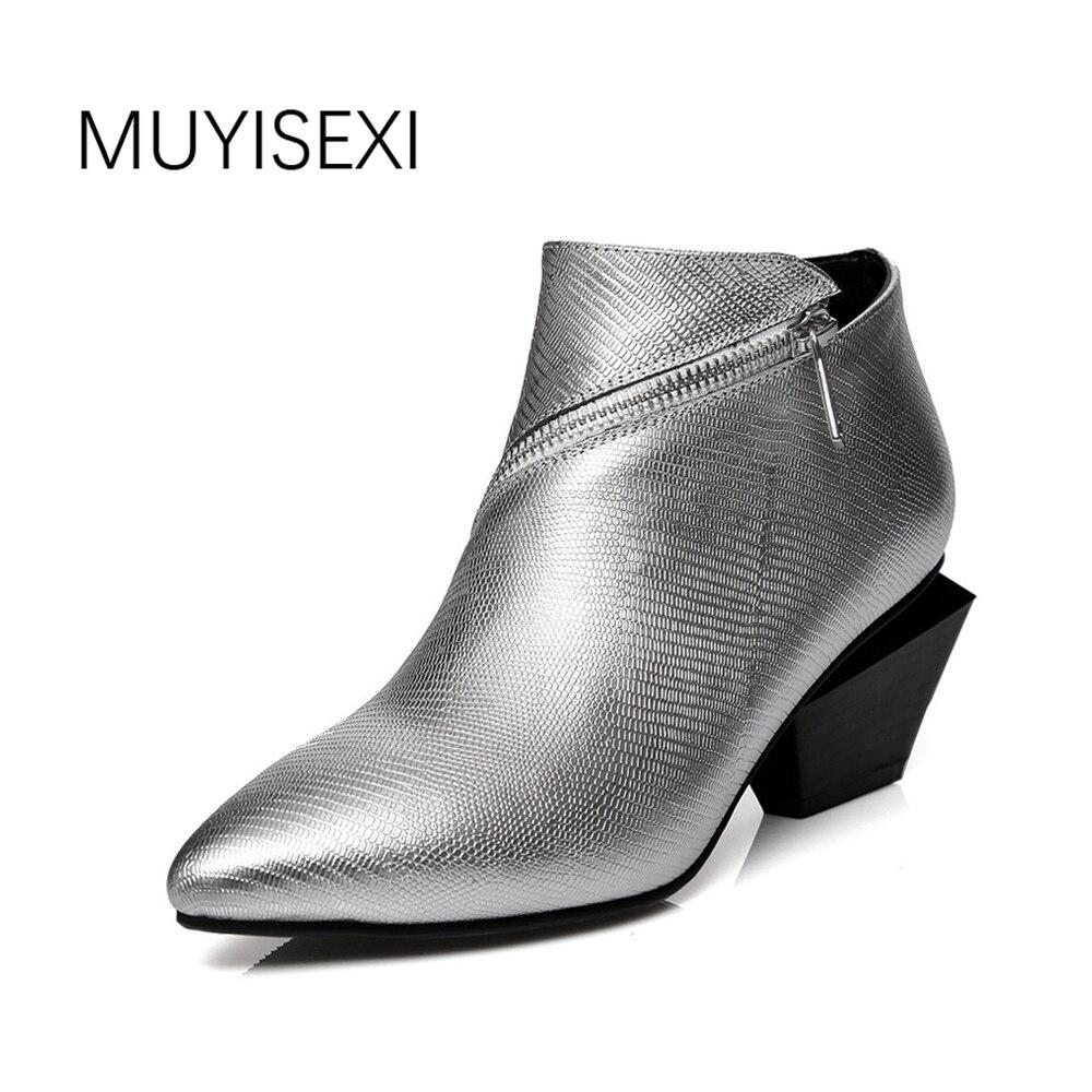 MUYISEXI Wanita kulit asli Kaki Menunjuk zip irregular Persegi heels ankle  boots Wanita Musim Dingin Boots silver hitam 34-41 HL01 6e3060d813