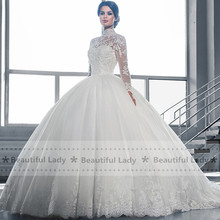 Elegant Hijab Wedding Dress 2017 High Neck Long Sleeve Sheer Lace Ball Gown Bridal Gowns See Through Sexy Wedding Dresses