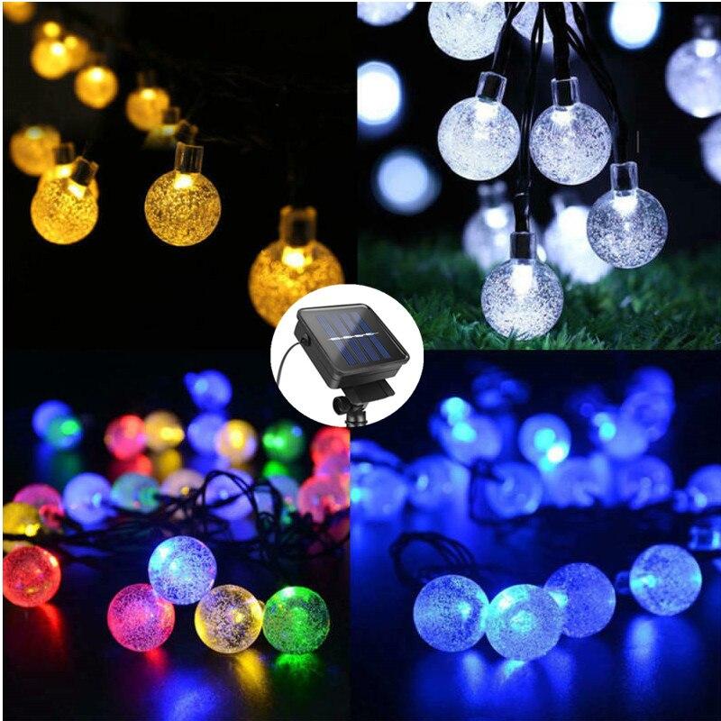 5 m 7 10 lâmpada solar bola de cristal led string luzes flash à prova dwaterproof água fadas para jardim ao ar livre decoração casamento natal