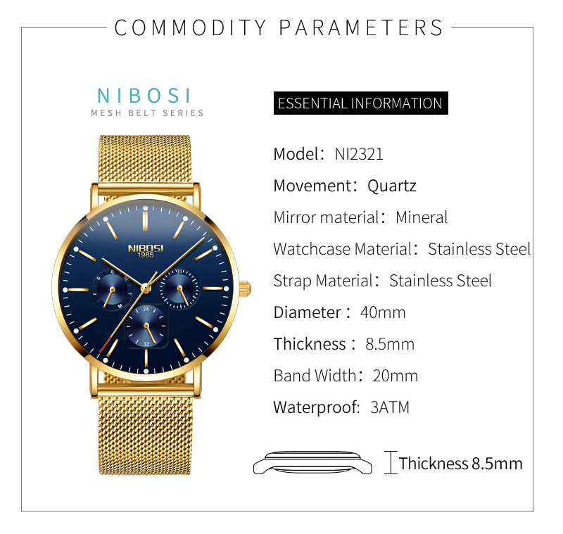 NIBOSI Luxury Brand 2018 Men Watches Ultra Thin Watches For Men Famous Brand Watch With Date men waterproof Relogio Masculino    (7)