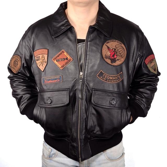 2018 hommes top gun pilote en cuir vestes plus la taille v ritable vachette paisse russe d. Black Bedroom Furniture Sets. Home Design Ideas
