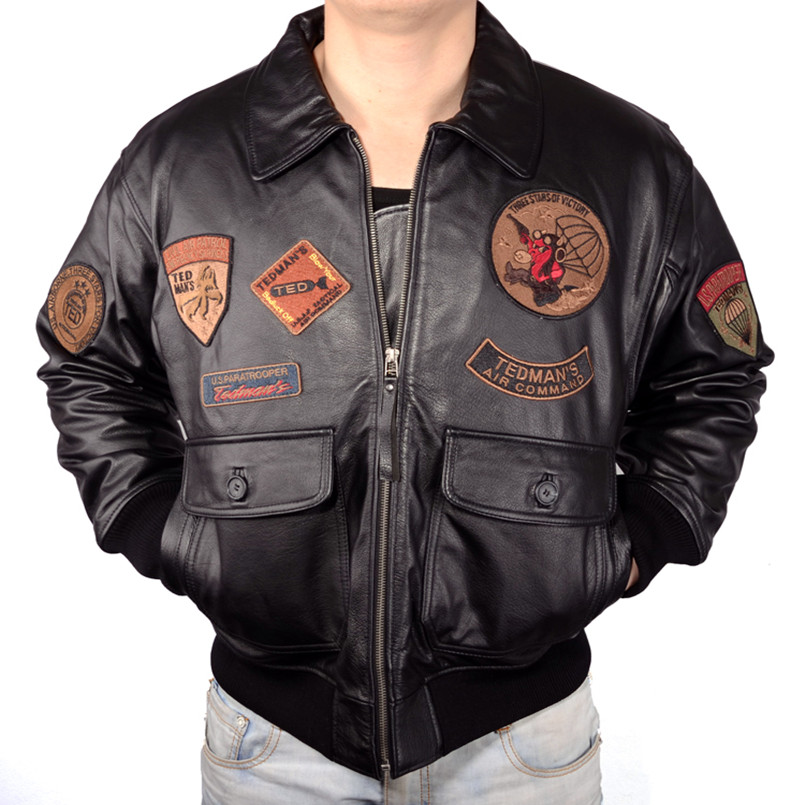 2018 men top gun leather pilot jackets plus size genuine. Black Bedroom Furniture Sets. Home Design Ideas