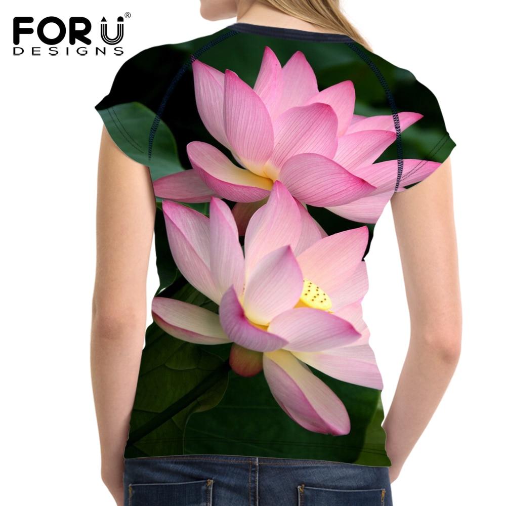 Forudesigns T Shirt Summer Tops Tees Shirt Women Clothing O Neck