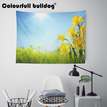 Landscape Flower Pink Tapestry Butterfly Tulip Wall Hanging Snow Mountain Daisy Red Moroccan Picnic Decor Bedspreads 150Cm Woven