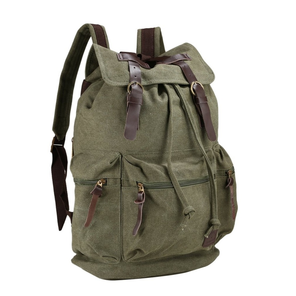 Vintage Style Canvas Backpack Daily Travel Leather Strap Large Backpack For Teenagers Student Schoolbag Men