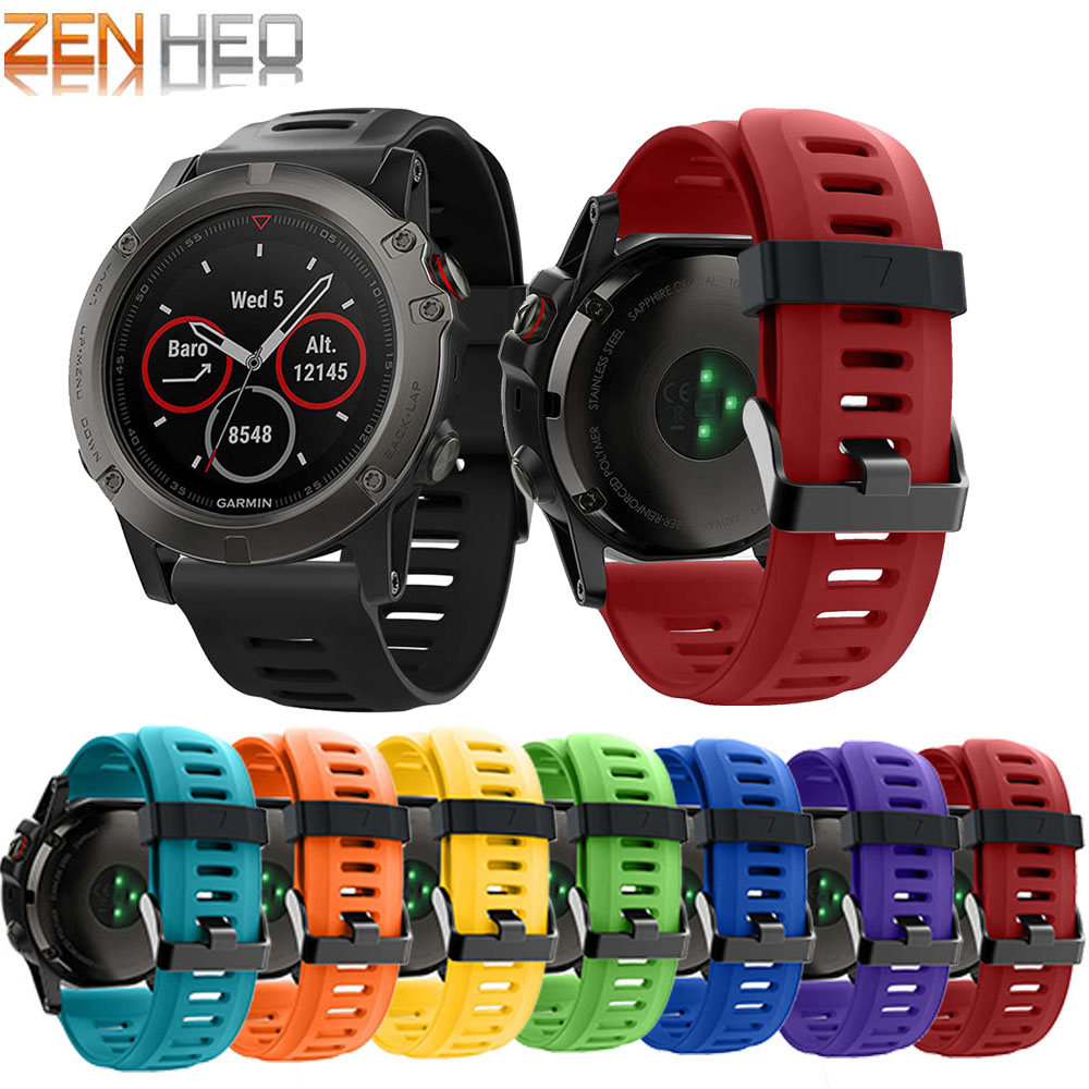 Strap Bracelet Watch-Band Garmin Fenix 3/Fenix Replacement Soft-Silicone for 5X/5X Plus