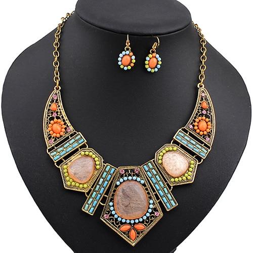 Earrings-Set Chain Necklace Hollow-Statement Women's Choker Hook Boho 4ER5E1S5 G6KI6