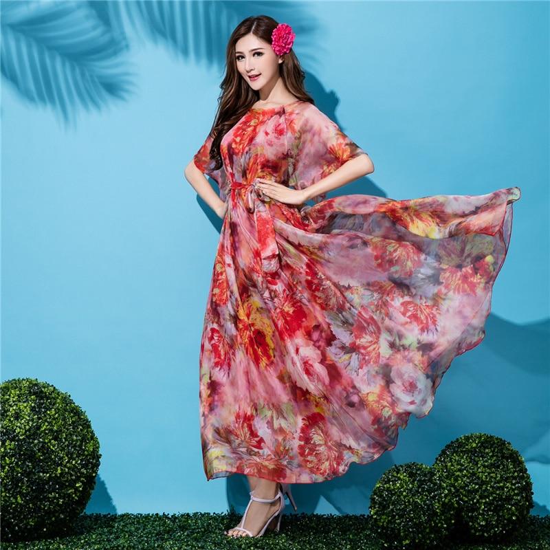 2017 New Stylish Bohemia Floral Chiffon Holiday Beach Maxi Long Dress Comfortable Honeymoon Dress все цены
