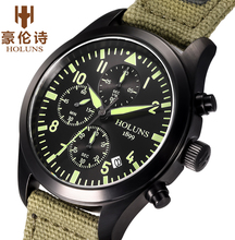 HOLUNS Men Chronograph Luminous Watch Sport Canvas Quartz-Watch Daily Waterproof Clock Date Men's Wrist Watch relogio masculino