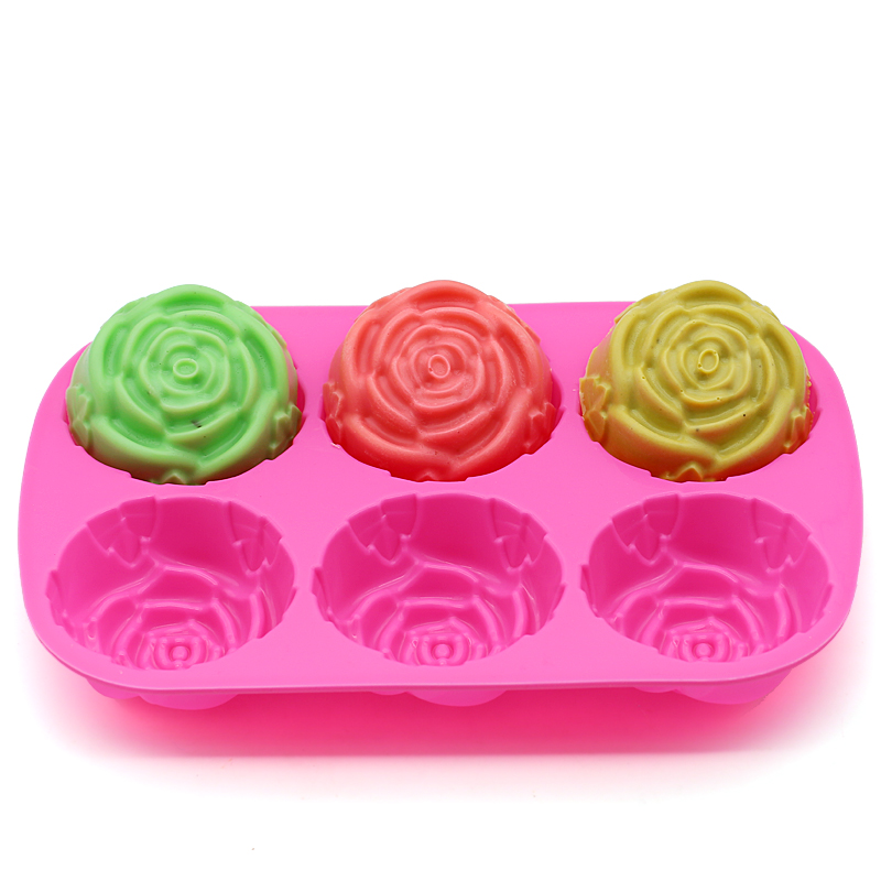 D001 6-rose flower silicone <font><b>cake</b></font> mold Ice cream <font><b>Chocolate</b></font> molds soap silicone molds 3D <font><b>cupcake</b></font> bakeware baking dish <font><b>cake</b></font> pan