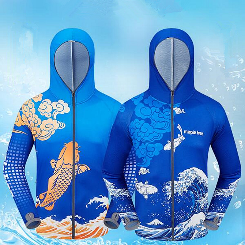 2019 Brands Mens Professional Clothes Fishing Anti UV Anti mosquit Breathable Quick drying homme Hooded Fishing Shirt 4XL M in Hiking Shirts from Sports Entertainment