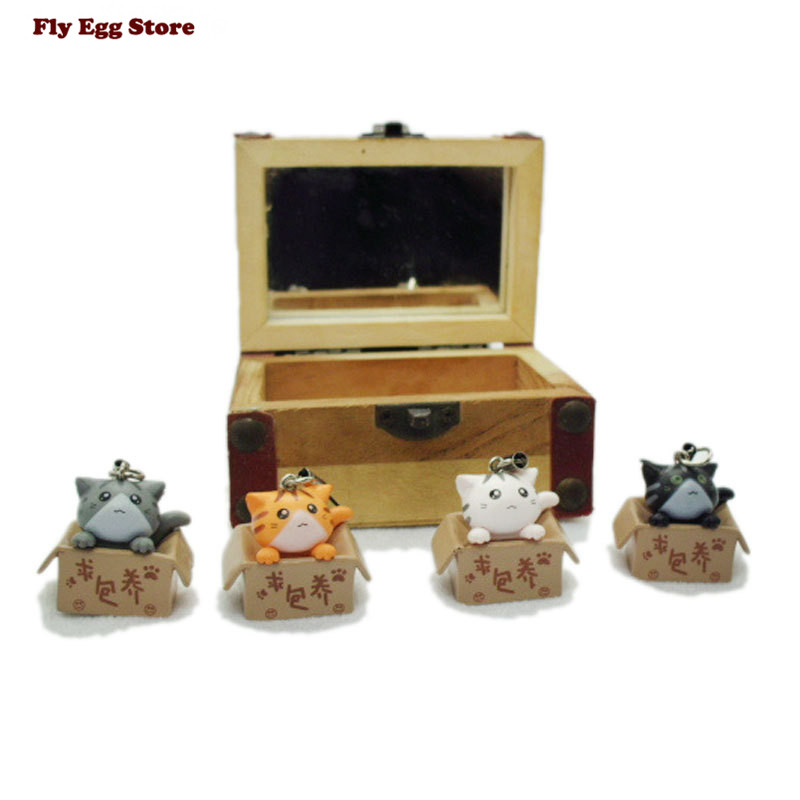 4pcs 2016 NEW Mini cat doll toy for girls keychain cute 3-4cm Baby Dolls baby doll Thumb birthday gift playhouse model kids toy