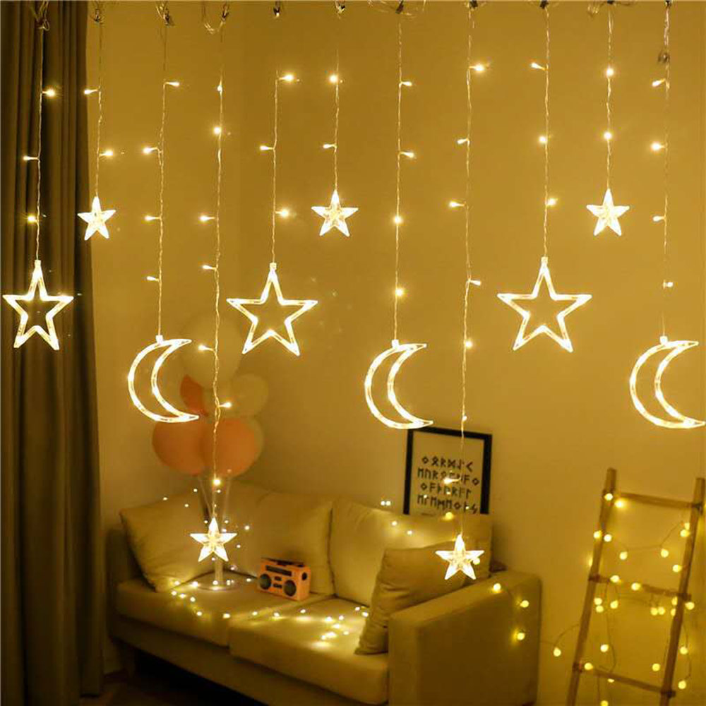3.5M 138leds Star Moon Led Curtain String Light 220V Romantic Holiday Christmas Garland Lights For Ramadan Wedding Party Decor