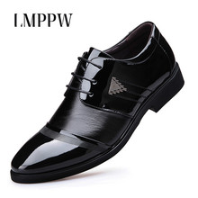 2018 Autumn Mens Business Shoes Leather Luxury Dress Shoes Men Pointed Toe Formal Wedding Shoes Black Brown Men Oxfords Flats grimentin brand uk fashion mens dress shoes genuine leather black pointed toe luxury men wedding shoes male flats for business