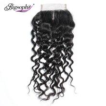 цена на Bigsophy Peruvian Deep Wave Closure 4*4 100% Human Remy Hair Lace Closure With Baby Hair Free  Middle/Three/Part Human Closure