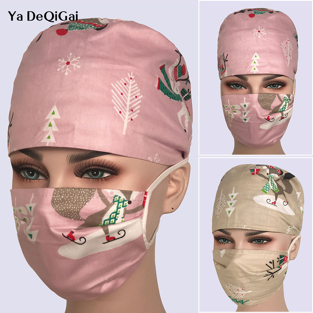 New High Quality Dentistry Surgical Caps Pet Hospital Surgical Nurse Caps Printing Pharmacy Hats Unisex Beauty Salon Work Hats