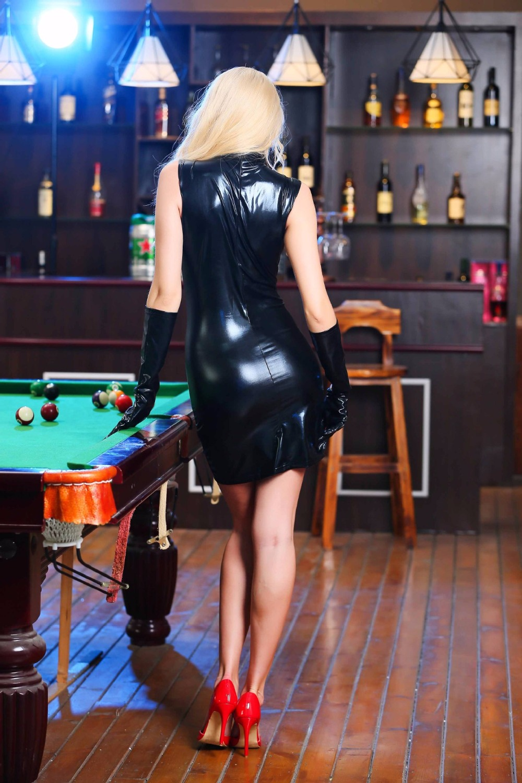 Hodisytian Women Latex Sexy Lingerie Dress Bandage Bodycon Elastic Erotic Dress Sleeveless Club Bodysuit Costume Without Glove 5