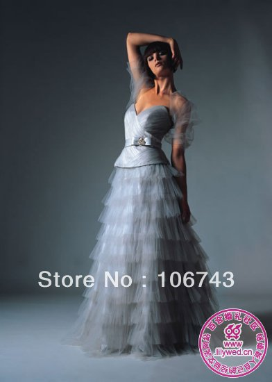 free shipping 2014 new fashion long design bow belt gray tulle vestidos Formal Elegant party gown evening Dresses with jacket