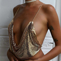 Elegante de Metal Top Safra 2017 Verão Estilo Bralette Praia Halter vestido De Paetês de Ouro Sexy Backless Party Club Mulheres Regatas Camisole