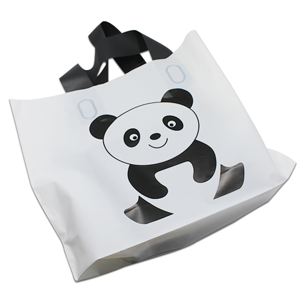 180pcs/lot White Cute Panda Portable Shopping Bag With Cartoon Printed For Cloth Gift Merchandise Handle Plastic Shopping Bag