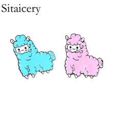 Sitaicery Cute Funny Animals Enamel Pin Llama Duck Sloth Sheep Badge Brooch Lapel Denim Jeans Shirt Bag Cartoon Jewelry Gift