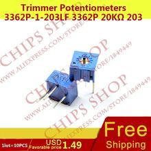 1 лот = 10 шт. триммер Делители напряжения 3362p-1-203lf 3362 P 20 кОм 203 20000ohm series3362p переменный резистор