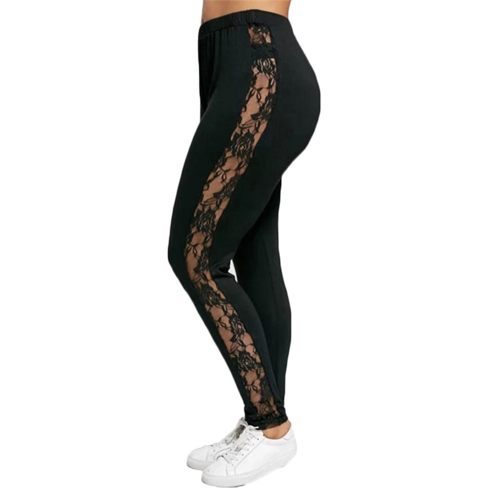 Womens Sexy Faux Leather Leggings Stretch Skinny Leg Pants Side Lace Stitching