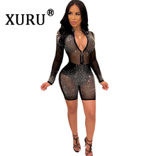 XURU summer new womens hot drilling one-piece shorts mesh sexy long-sleeved tight-fitting jumpsuit