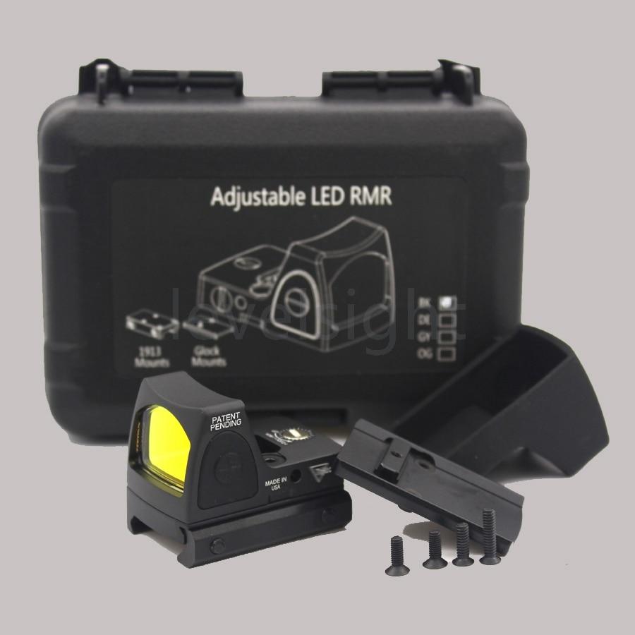 NEW Mini Ruggedized RMR Style Miniature Reflex Red Dot Sight W/ On/Off Switch Black