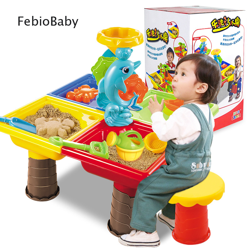 Summer Creative Baby Playing Sand And Water Table Box Baby Kids Children Outdoor Beach Waterwheel Toys Family Play Set Sand Desk