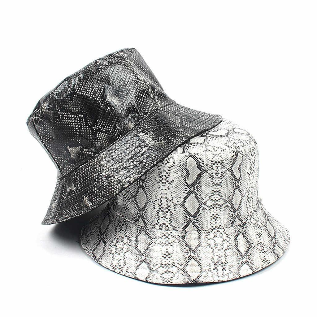 2ba80a14 Summer Hat Women Mens Panama Bucket Hat Snake Print Design Sunshade ...