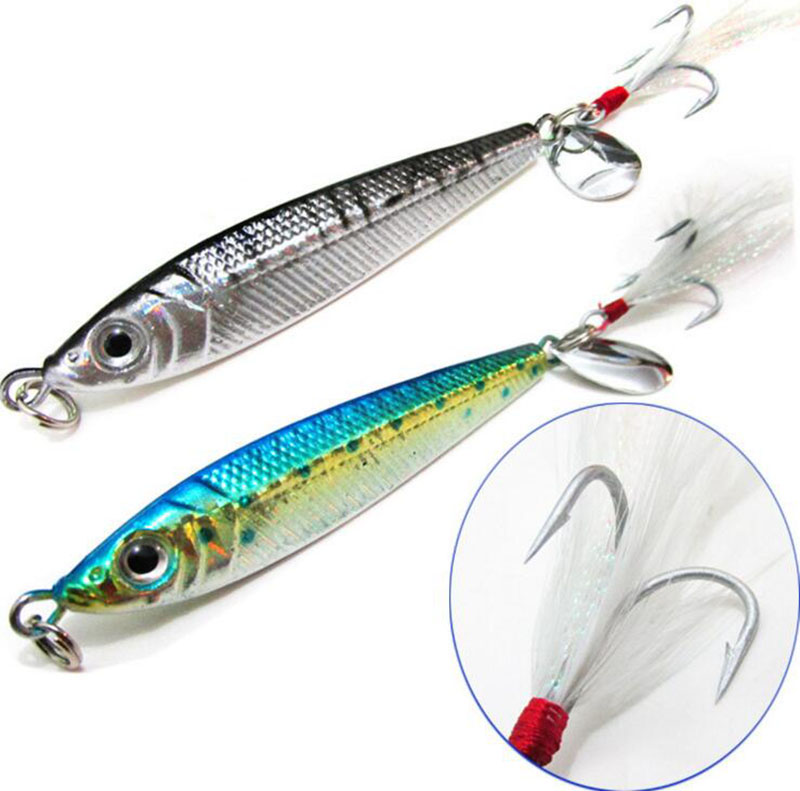 1pcs metal lead fish lure 40g with feather hook metal for Deep sea fishing gear