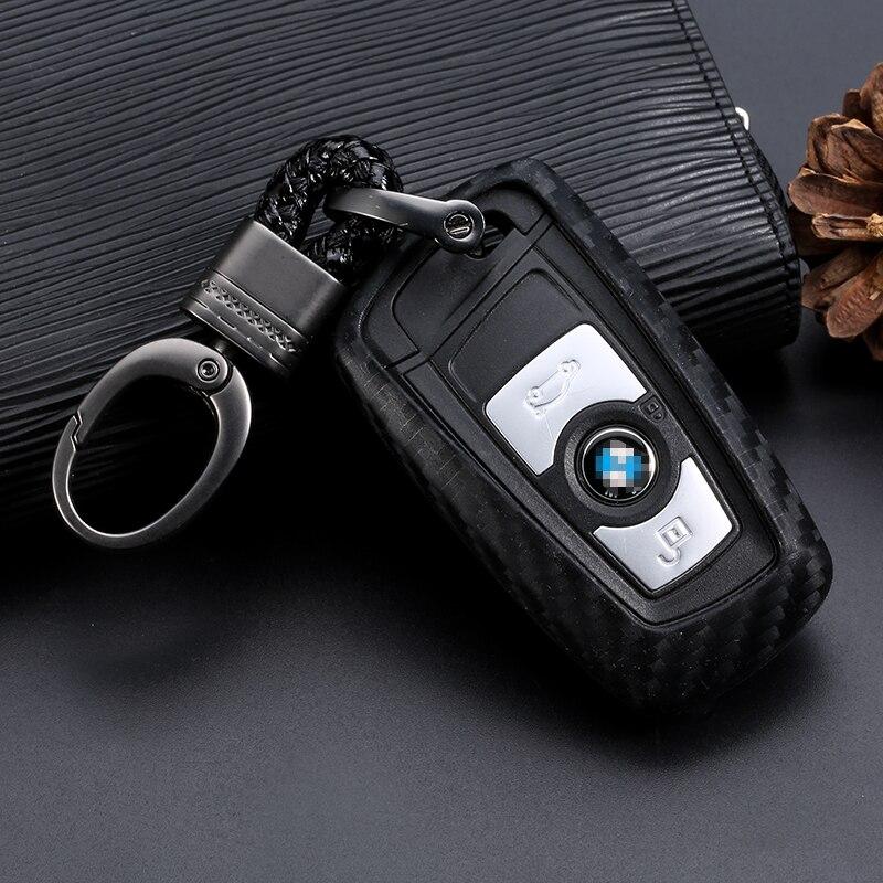Carbon-Fiber-Pattern-Silicone-Key-Cover-Case-Keychain-For-BMW-520-525-730li-740-118-320i (5)