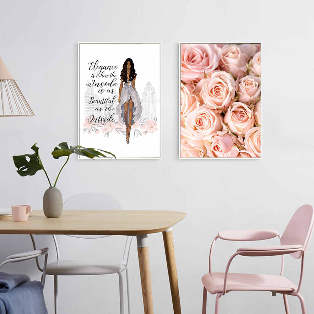 Fashion Woman Canvas Poster Romantic Rose Art Print Noridc Style Painting Wall Picture Modern Home Decor Unframed