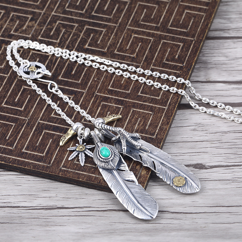 Takahashi Goros Feather Necklace S925 Sterling Silver Retro Thai Silver Eagle Claw Sweater Chain Male And Female Set NecklaceTakahashi Goros Feather Necklace S925 Sterling Silver Retro Thai Silver Eagle Claw Sweater Chain Male And Female Set Necklace