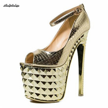 цены LLXF zapatos Plus:41 42 43 Summer Sandals 20cm High-heeled Shoes woman Stiletto Patent Leather Peep Toe Gold/Sliver Pumps