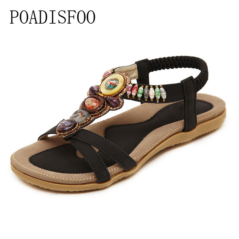 POADISFOO 2017 new national sandals Bohemian flat shoes beaded shoes Zapatos Mujer Zapatos Mujer.JXF-148A8 diy office organizer wooden office desk sets desk file organizer multifunctional office desk accessories document storage box