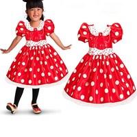 Vestido ميني منقطة حمراء الطفلات الصيف اللباس عارضة طفل فتاة فساتين الاطفال ملابس الأطفال ملابس عيد