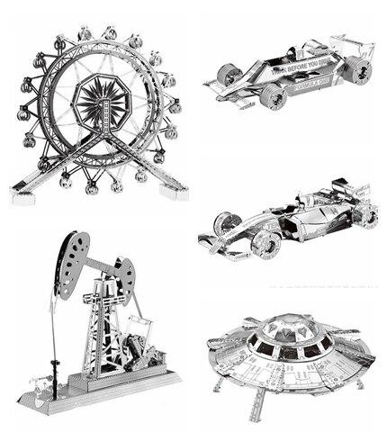 Metal 3D Puzzle Modelo brinquedos UFO/máquina de perfuração de Petróleo/Kits de Modelos Em Escala Metálico DIY Enigma Modelo de corrida F1 brinquedos