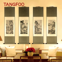 ShaoFu Antique Chinese Characteristic Scroll Painting Silk Landscape Painting National Treasure Classical Wall Pictures Decor