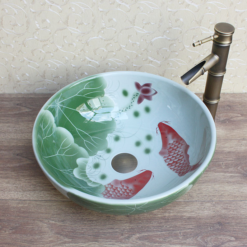 все цены на Art Chinese Hand Carved Lotus Porcelain Custom Bathroom Wash Basin For Hotel /Bar