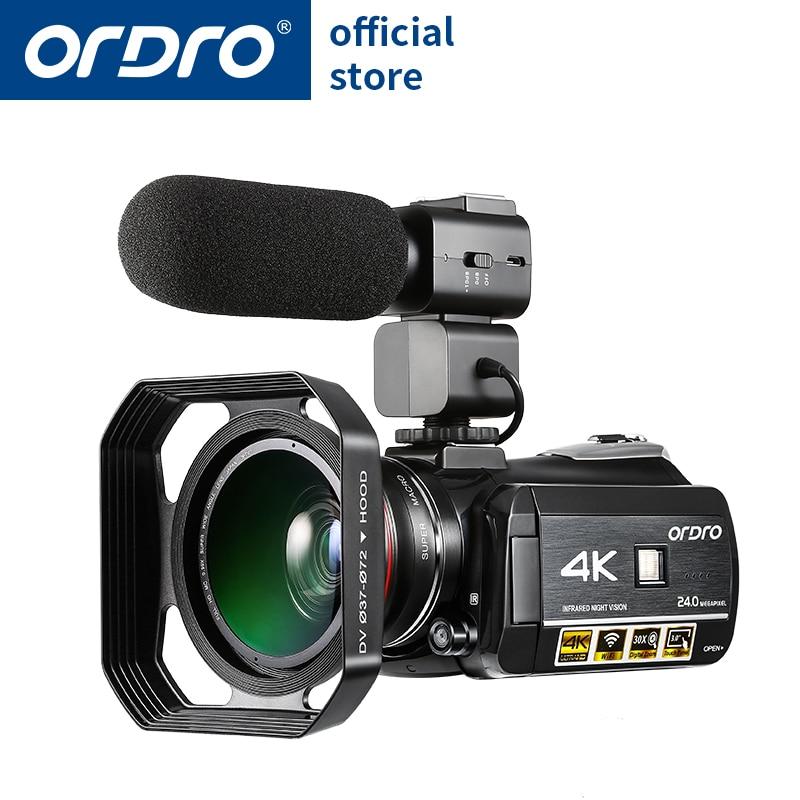 Ordro HDV-AC3 Video camera 4 k 24 milioni di pixel con obiettivo grandangolare e microfono e cappuccio