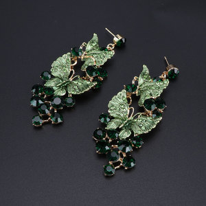 Image 4 - Luxury Green Necklace Earrings Set Butterfly Jewelry Sets for Brides Gift for Women Wedding Party Indian Costume Jewellery