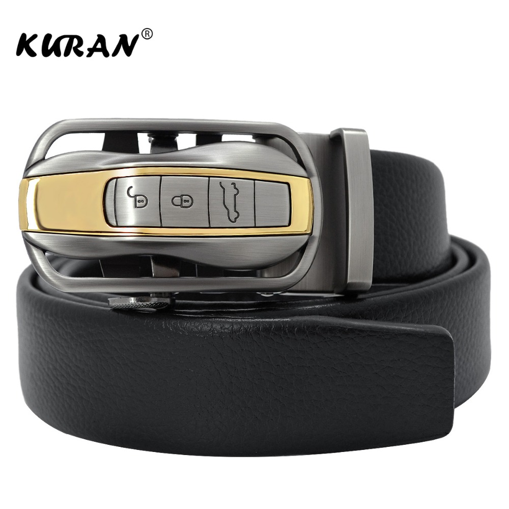 [KURAN] Famous Brand Black   Belt   Men Hight Quality Genuine Luxury Leather   Belts   for Men,Strap Male Metal Automatic Buckle