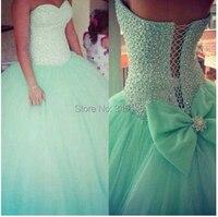 Custom Make Beaded Light Green Quinceanera Dresses Tulle Ball Gown Vestidos De 15 Anos Party Dress Gowns Vestido De Festa