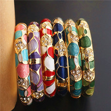 Colorful Chinese Craft Ethnic Bangle Cloisonne Enamel Jewelry High Quality Rhinestones Women Bangles Birthday Gift