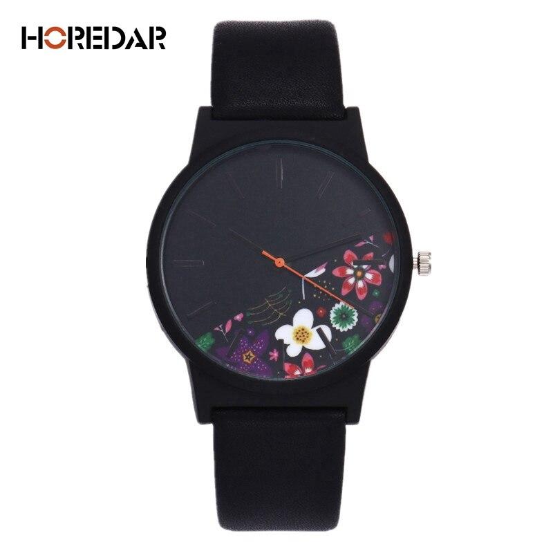 New Vintage Leather Women Watches 2017 Luxury Top Brand Floral Pattern Casual Quartz Watch Women Clock Relogio Feminino 1