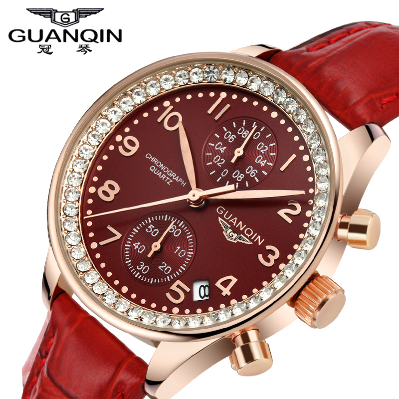 Luxury Top Brand GUANQIN Watches Fashion Women Rhinestone Vintage Wristwatch Lady Leather Quartz Watch female dress clock hours luxury top brand guanqin watches fashion women rhinestone vintage wristwatch lady leather quartz watch female dress clock hours