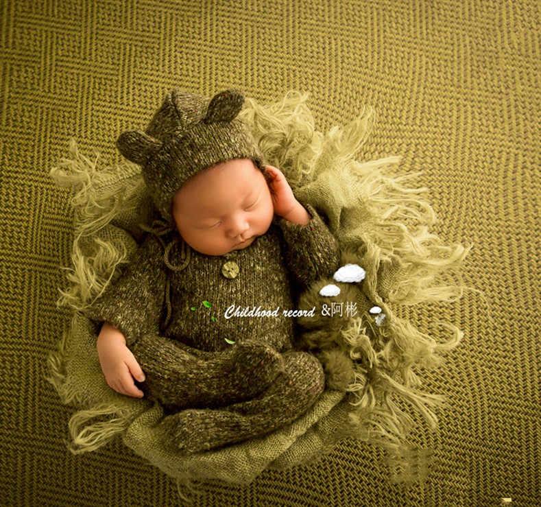 Maglia Crochet Appena Nato Fotografia Puntelli Pagliaccetto + Cappello 2 pcs Set Fotografia Accessorio Infantile Del Bambino Studio Tiro Foto del Ragazzo Vestito