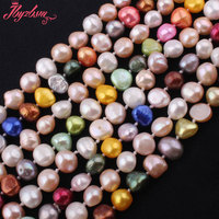 7 8x8 9mm Freshwater Pearl Natural Beads Mixed Color Irregular Stone Handwork Necklace Not Button 45